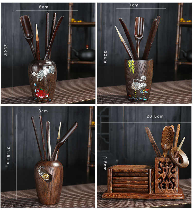 Kit japonais 6 pièces/ensemble cérémonie du thé en ébène | 6 messieurs, Kit créatif service à thé Kung Fu, accessoires Clip bouteille de thé, cuillères à thé Puer aiguille à thé