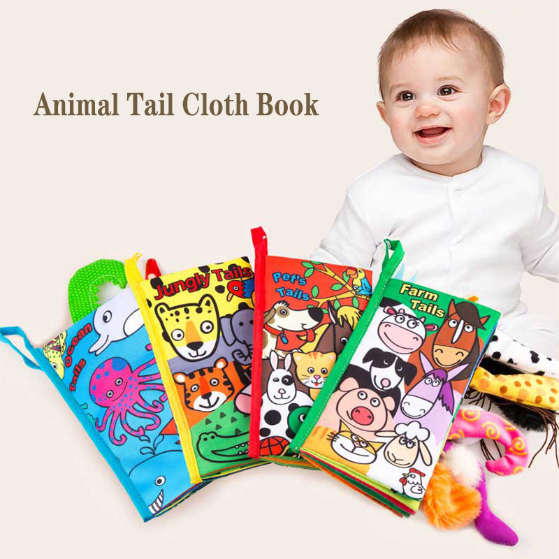 JollyBaby Soft Cloth Book Pet/'s Tails Baby Kid Intelligence Development Toy