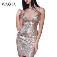 Womens Rose Gold Sequins Dress 2017 New Sexy V Neck Backless Women Sundress Luxury Party Club