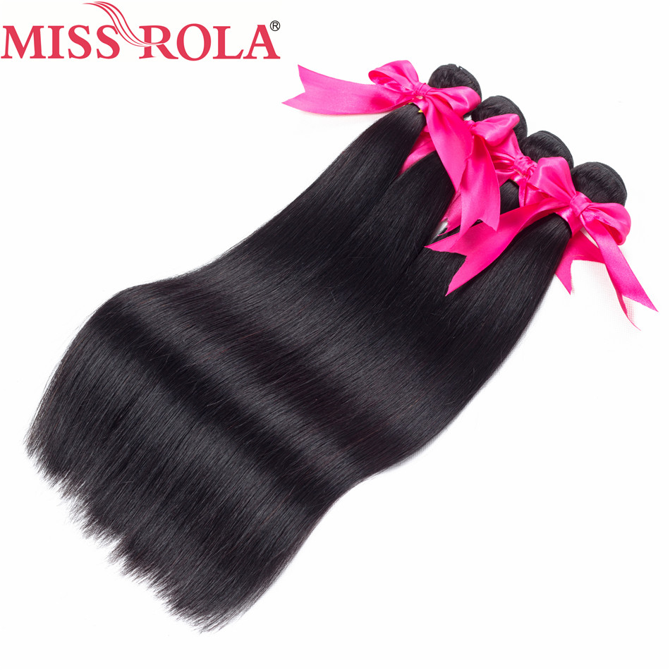 Miss Rola Hair Pre-colored Peruvian Straight Hair Weave Bundles 100% Human Non Remy Hair Extensions 4 Pc Natural Black Haare