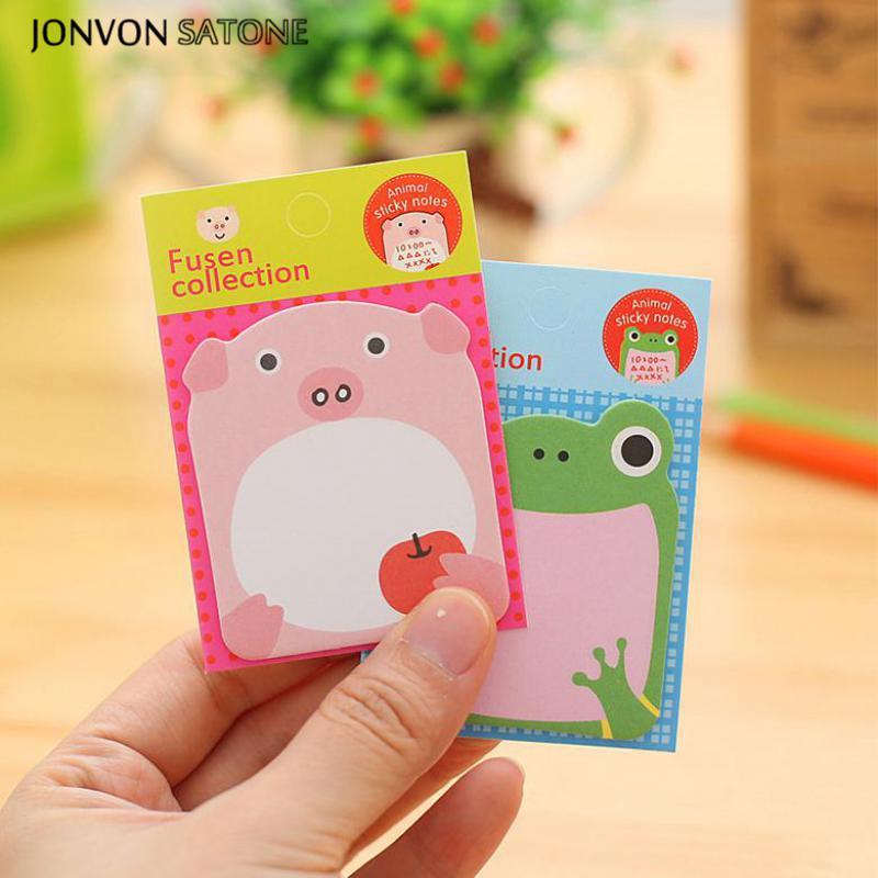 Jonvon Satone 8st Cartoon Zoo Animal Memo Pads Söt Stationery Can - Block och anteckningsböcker