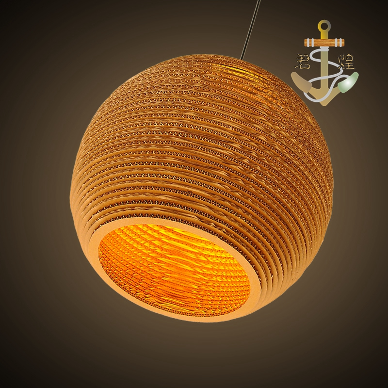 The story of a small town retro Bar Hotel honeycomb naked pupa Cafe personality leather cardboard pendant light ZH the restaurant in front of the hotel pendant light cafe bar small aisle entrance hall creative mediterranean