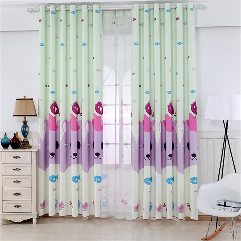 Modern cartoon polyester printed gauze curtain simple high quality childrens tenant room bedroom curtain factory direct sales