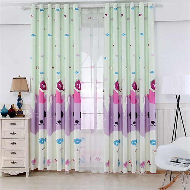 Modern Cartoon Polyester Printed Gauze Curtain Simple High Quality Childrens Tenant Room Bedroom Factory Direct