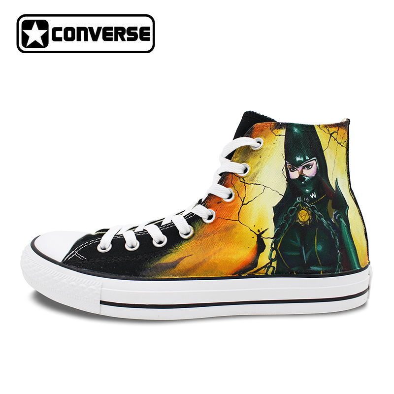 Black Converse Chuck Taylor Women Men Shoes Bayonetta Rosa Design Custom Hand Painted Sneakers Skateboarding Shoes Anime Cosplay