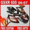 Fairing Kits For SUZUKI K6 K7 Gsxr600 Gsxr750 06 07 Brown Flames In Black GSXR 600