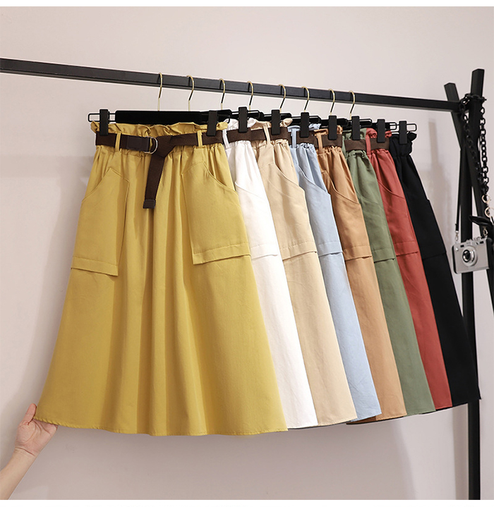 Surmiitro Midi Knee Length Summer Skirt Women With Belt 19 Spring Casual Cotton Solid High Waist Sun School Skirt Female 6