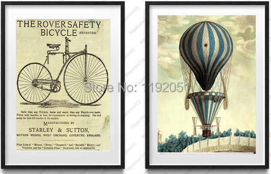 still life vintage style pictures canvas paintings mural prints posters bicycles and balloon black and white home decorative art
