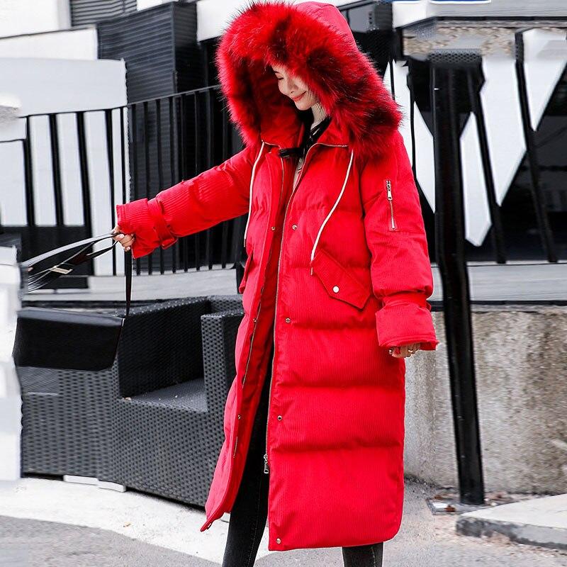 Coton D'hiver Vers Long Capuchon Épaissir À De Or Grand Hs26 Veste red Black Bas Manteau Vestes En Grande Col Le Chaude purple Femmes 2019 Taille Velours Fourrure green nzvqHU7