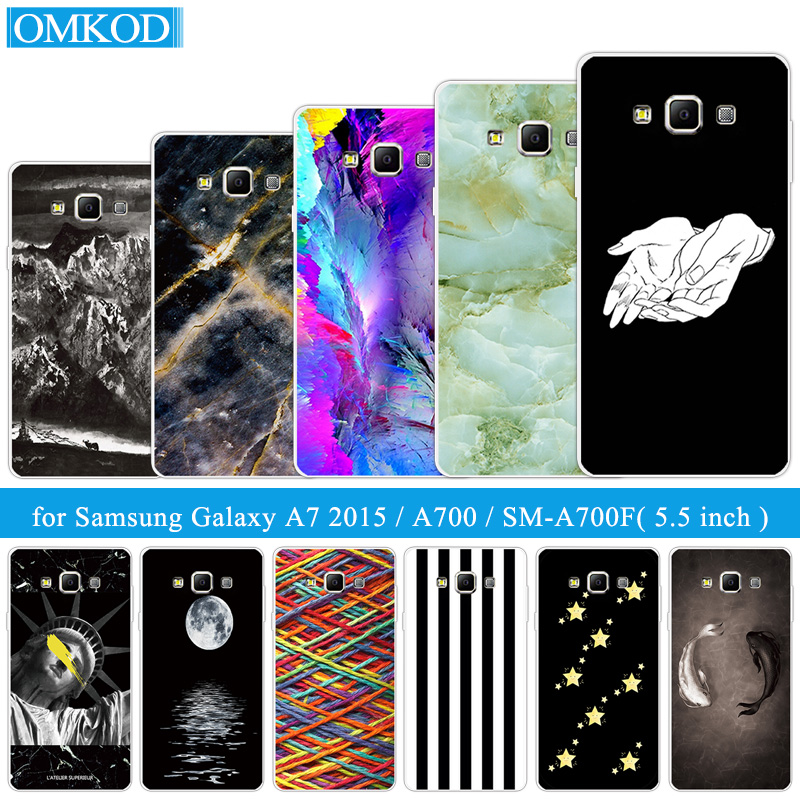 5.5 for Samsung Galaxy A7 A700 A7000 Phone Case Silicone TPU Fish Back Covers DIY for Samsung A7 2015 Transparent Soft TPU