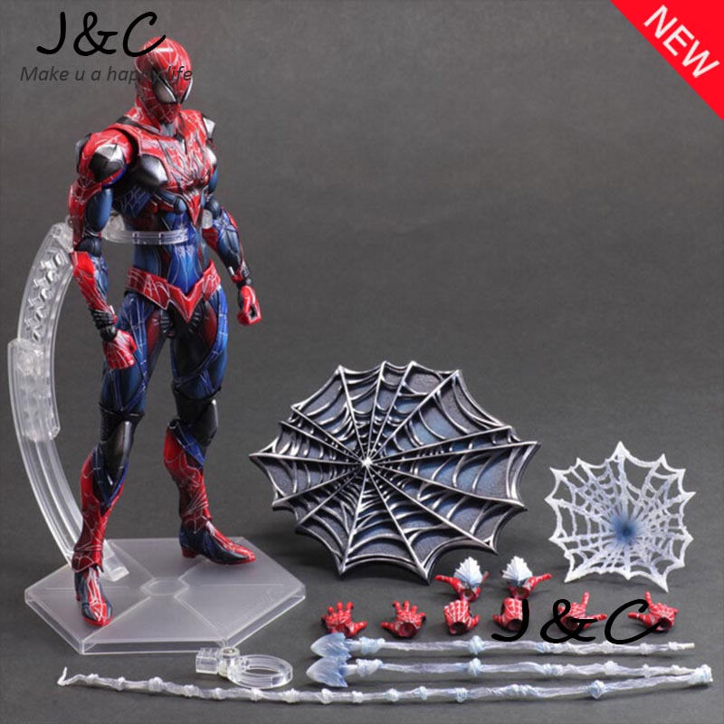 Spiderman Action Figure Play Arts Kai Spider Man 250MM Anime Model Toys Superhero Playarts Spider-Man tobyfancy blue spider man action figure play arts kai collection model anime toys amazing spiderman pa kai spider man
