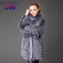 2017 Guessna fur coats for women winter fox fur strip outwear fashion silm fur jacket thick warm fur female coats