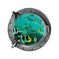 Creative Home Decor 3D Wall Sticker Submarine Windows Cartoon Deep Sea Tropical Fish Pattern For Wall