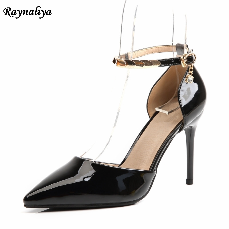 Genuine Leather Big Size 33 43 Pointed Toe Women Ankle Strap Pumps Fashion Thin High Heels Sandals Leisure Shoes 9CM XZL B0053 in High Heels from Shoes