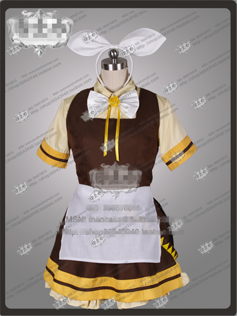 2017 New Clothes Anime Customize VOCALOID Lolita Kagamine Rin Maid Clothes female cosplay costume dress with free shipping цены
