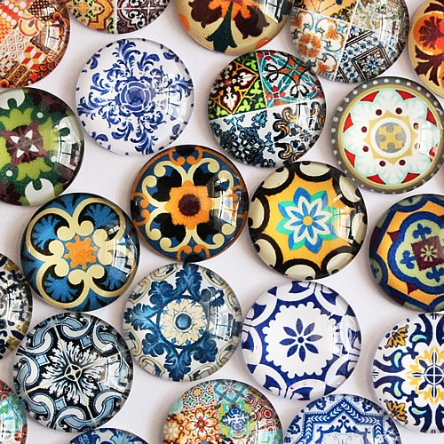 20mm Mixed Style Flower Glass Cabochon Dome Jewelry Finding Cameo Pendant Settings Accessories 20pcs/lot (K05135)