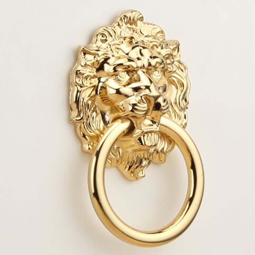 68mm Gold Lion Drawer Pull Knobs Handles Dresser Drop Pulls Rings