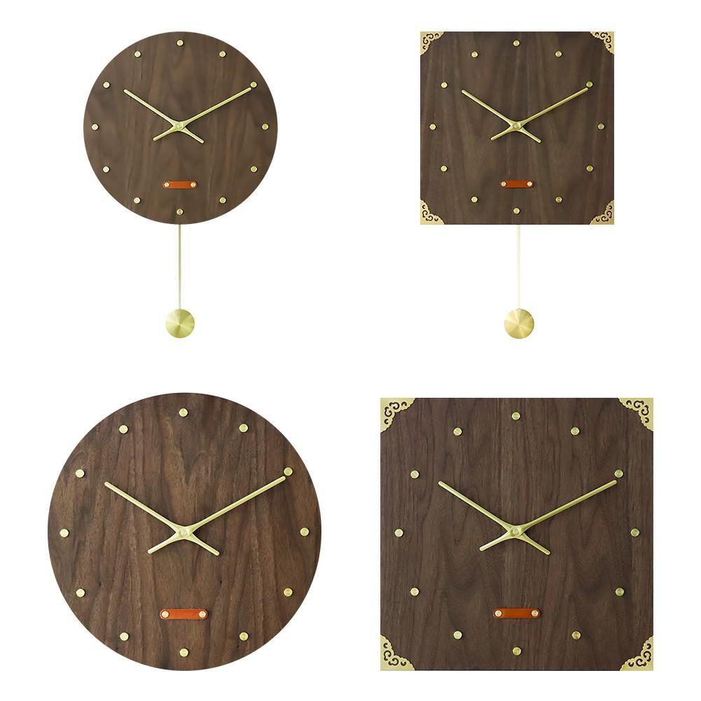 Horloge murale en bois laiton noyer placage visage horloges murales Vintage bois Points de balle MDF Double Face naturel