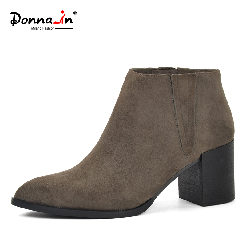 Donna-in pointed toe thick heel ankle boots kid suede shoes classic chelsea boots genuine leather high heel women boots xiangban handmade genuine leather women boots high heel ankle boots pointed toe vintage shoes red coffee 6208k11