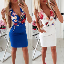 Summer Sleeveless Sexy Bodycon Floral Print Dress Women V-neck Pockets Party Club Mini Dress white random floral print v neck sleeveless mini dress