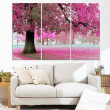 New design pictures! Free shipping 3panel of tree Deciduous red leavs Room decoration without frame F297(China)