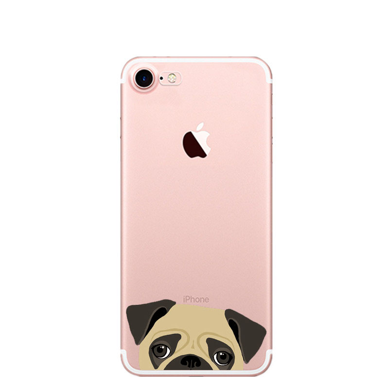 Cartoon Animal Bull Terrier French Bulldog Soft silicone TPU Phone Case For iPhone 5 5S SE 6 6S 6Plus 7 7Plus 8 8Plus X Cover