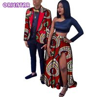 2018 African Print Couple Clothing Women Long Skirt And Men Outwear Coat African Party Couple Clothes for Women Mens WYQ28