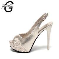 GENSHUO 2017 Gold Flower Open Toe Rhinestone High Heel Shoes Women Luxury Bulack Wedding Shoes Bride