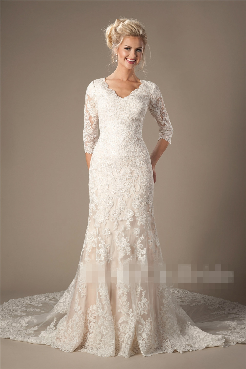 wedding dress 3 4 sleeve vintage champagne mermaid modest wedding dresses with 3 4 9191