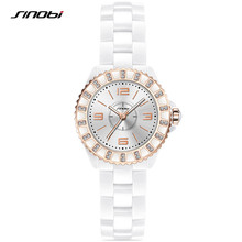 SINOBI 2017 Ladies Imitation Ceramic Watch Luxury 2 Size Gold Bracelet Watches with Fine Alloy Strap