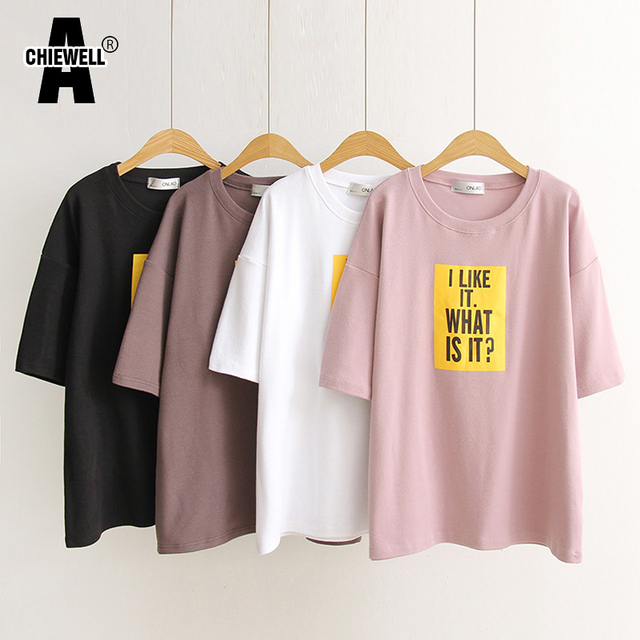 c762821d7624 Achiewell Summer Casual Women T-shirt Yellow Letter Printed Short Sleeve  Black White Pink Coffee Cotton T-shirts Tops