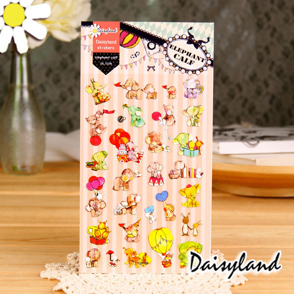 5 pcs /lot scrapbooking stickers post it stationery Elephant and his friends scrapbook paper stickers/ Wholesale Daisyland 1128