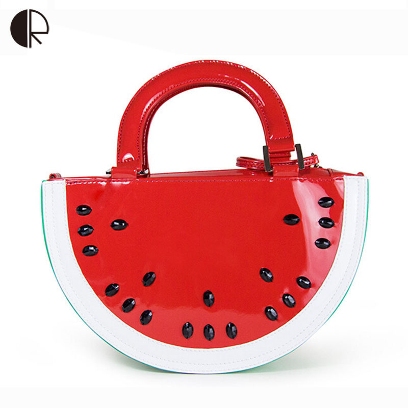 New Interesting European Pattern Tote Women Semicircle Watermelon Bag PU Shoulder Bag Fruit Shape Red Ladies Handbags BS467 soft u shape cushion journey from watermelon kiwifruit orange fruit cushions tourism neck pillow autotravel pillows new hot