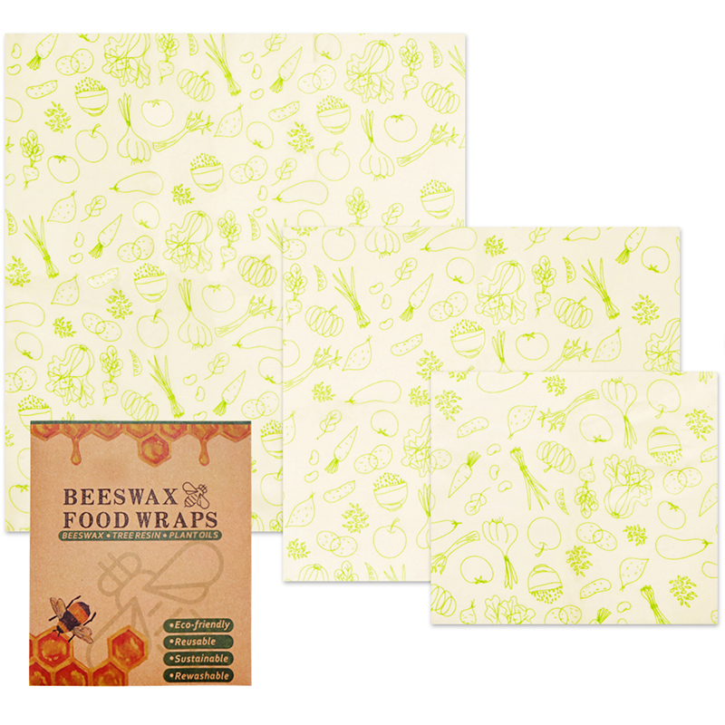 Reusable Vegetable Pineapple Food Wraps Beeswax Fresh Keeping Lids Covers Fruit Packing Cloth Home Appliance 3 PCS