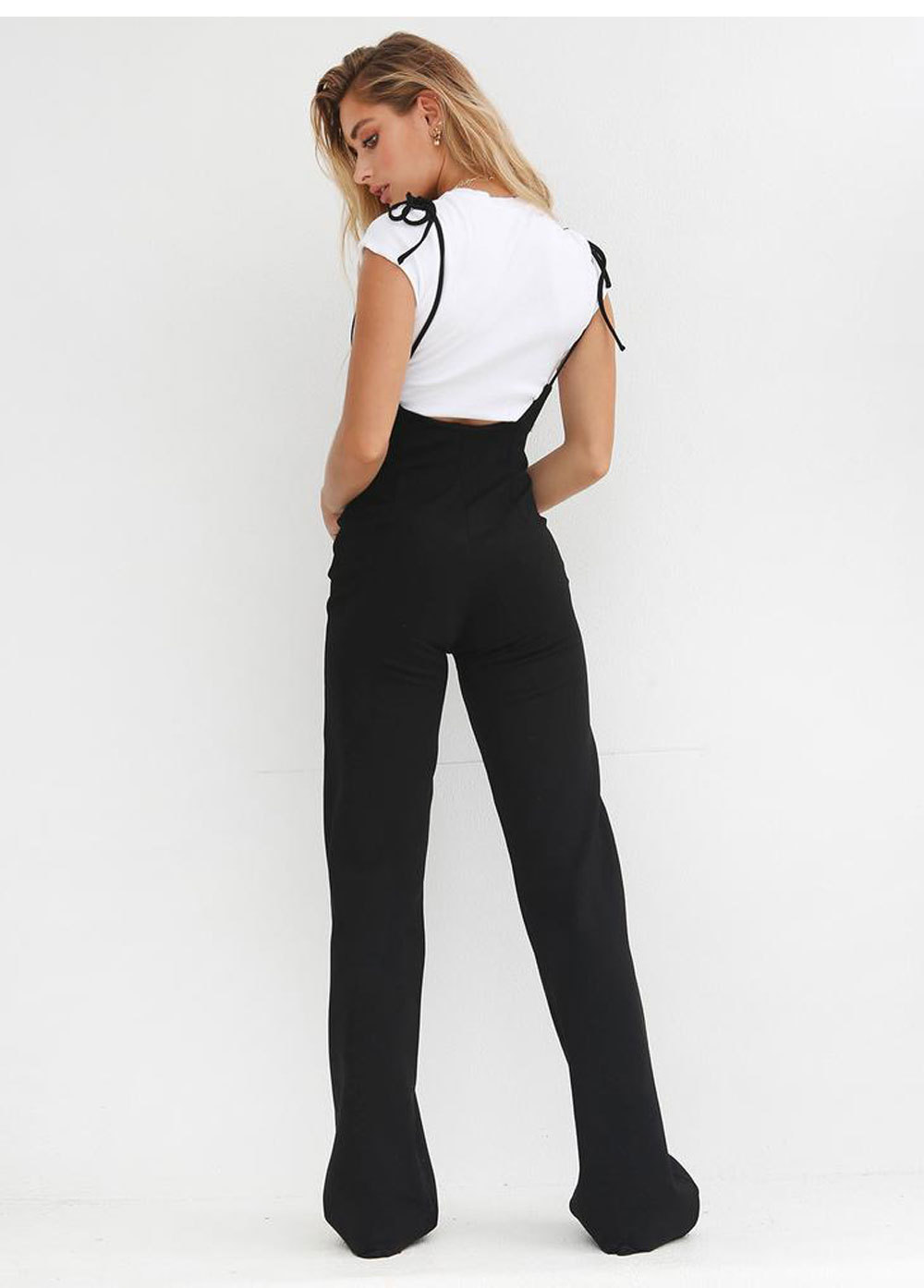 Soft Wide Leg Full-length High Black Lace-up Loose Trouser Pants