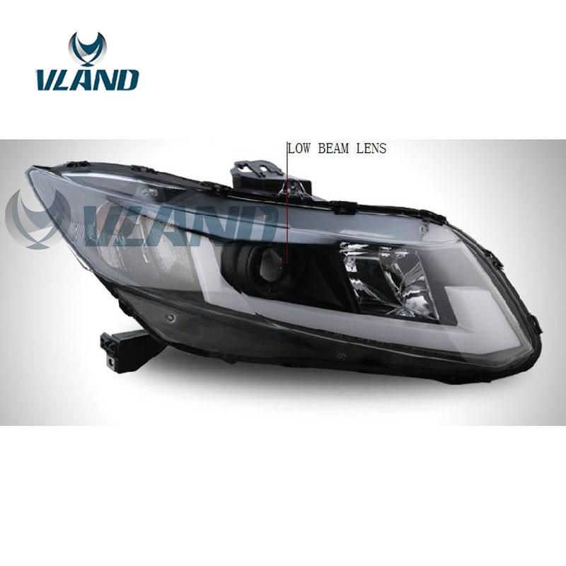 VLAND Factory pour phare de voiture pour Civic 2012 2013 2014 phare LED pour phare civique avec barre de lumière LED bi-xénon - 5