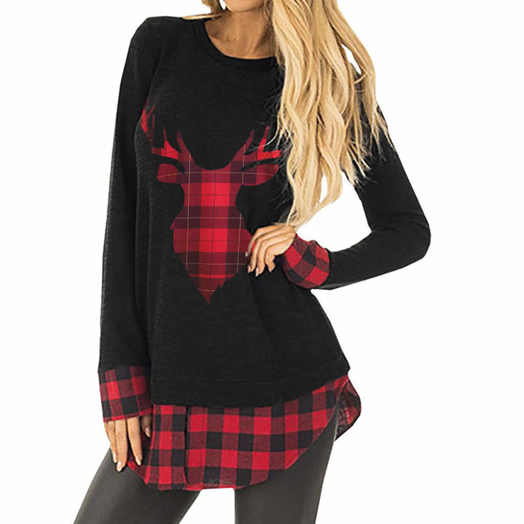 Christmas Tops For Women.Feitong Women Christmas Tops T Shirts Causal Plaid Splice