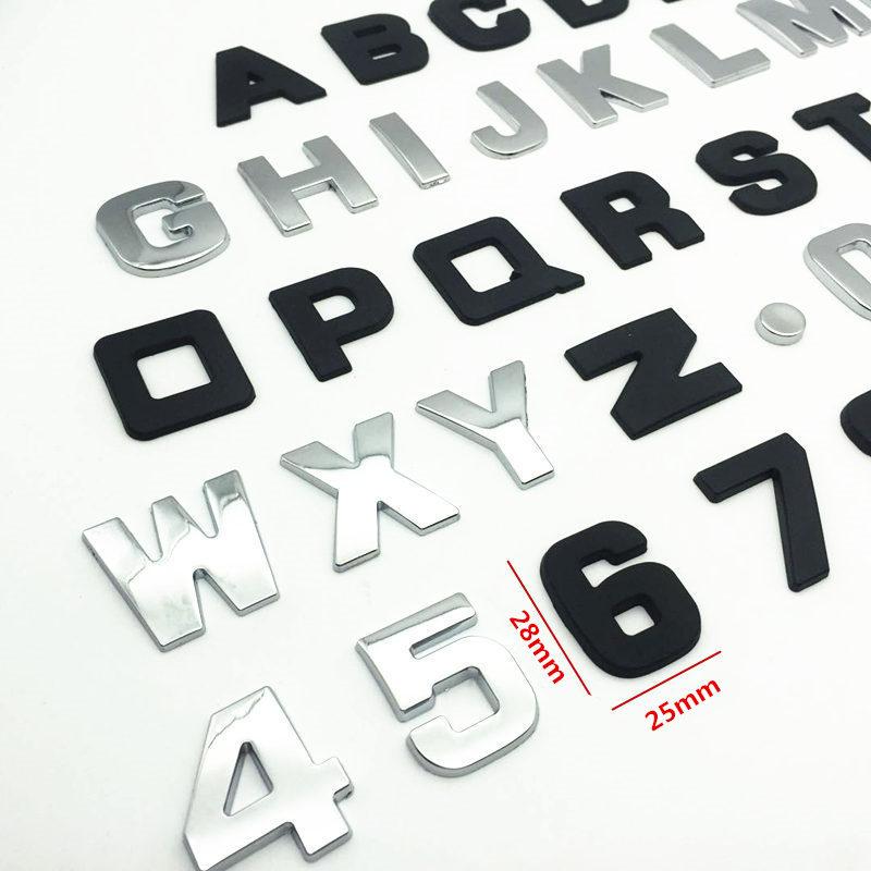 CDIY 25mm 3D do Emblema do Cromo do Metal DIY Letras Do Alfabeto Adesivos de Carro Logotipo Do Carro Crachá Digital de Automóveis Acessórios Da Motocicleta