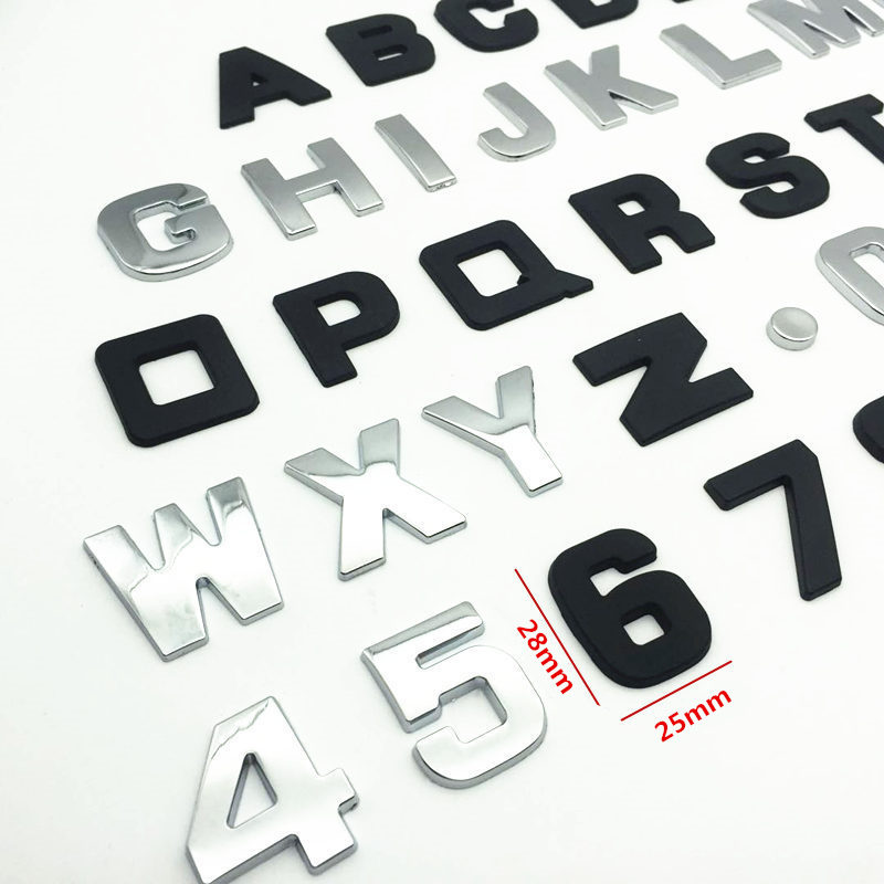 CDIY 25mm 3D Metal DIY Letters Alphabet Emblem Chrome Car Stickers Digital Badge Automobiles Logo Accessories Motorcycle