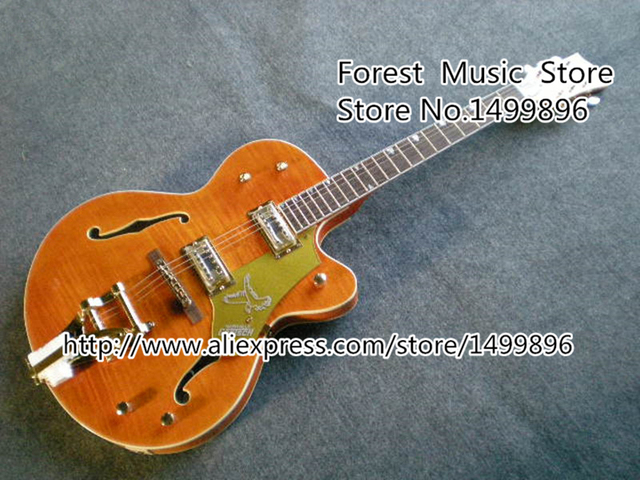 Cheap Top Quality 22 Frets G6120 Orange Falcon Hollow Body with Bigsby Chinese Guitar Tiger Flame Finish In Stock