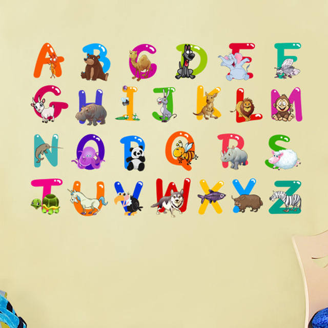 Online Shop Cartoon Colorful 26 Letters alphabet Wall Stickers For ...