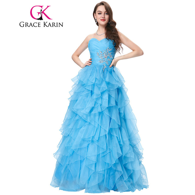 Red Blue Quinceanera Dress 2018 Grace Karin Strapless Formal Vestidos Long Ball Gown Organza Prom Dresses for Sweet 16 Years