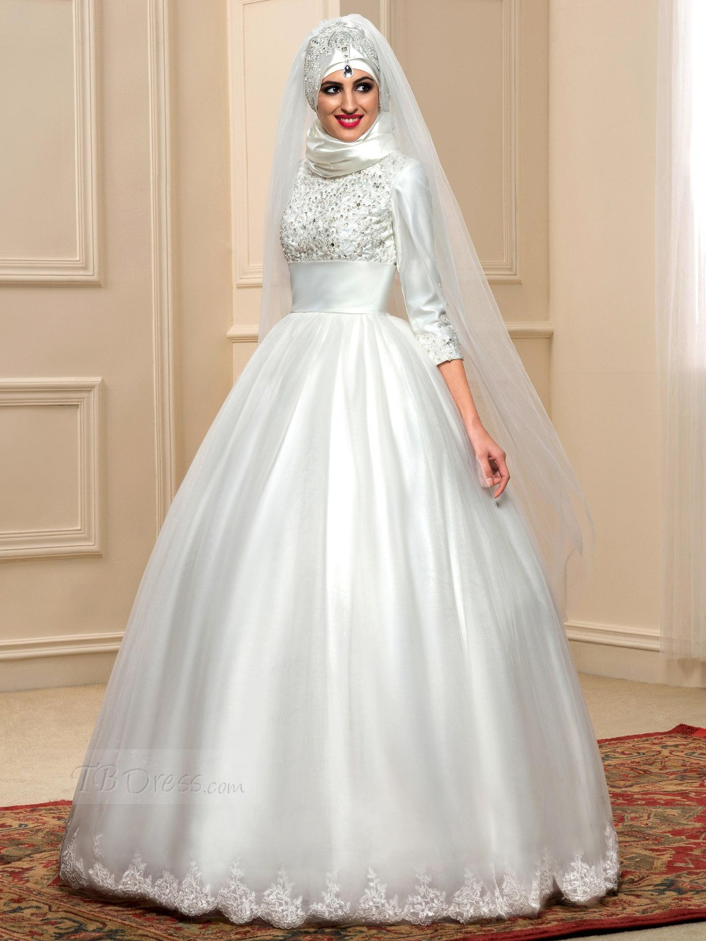 Three Quarter Sleeve Muslim Wedding Dress white Ball Gown 2017 Hot ...