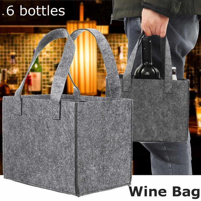 Reusable Fashion Felt Bag Wine Holder Beer Bottle Shopping Tote Bag Bottle Carrier with 6 Bottles Divider Washable Grey 2