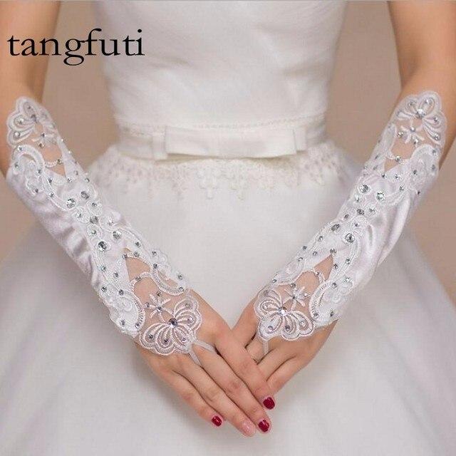 Beaded Long White Or Ivory Red Fingerless Satin Wedding Gloves Bridal For Bride
