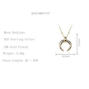 Image 4 - Silvology 925 Sterling Silber Gold Mond Crescent Anhänger Halskette Kreative Textur Elegante Weibliche Halskette 925 silber Schmuck