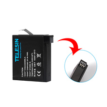 TELESIN 1 Piece 1200mah Lithium Rechargeable Battery Replacement Batteries Set for GoPro Hero 4 Black, Silver-GoPro Ahdbt-401