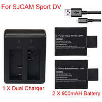 2pcs 3.7V 900mAh Li-ion Camera Battery + Wall Charger For SJCAM SJ4000 SJ5000 SJ6000 Camera Replacement Bateria