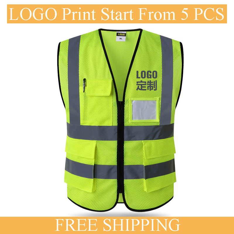 Safety Vest In Mens   Tank     Tops   High Visibility Refective Safty Waistcoat Summer Vest LOGO PRINT