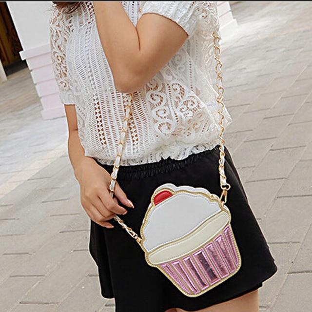 New Cute Cartoon Women Ice cream Cupcake Mini Bags PU Leather Small Chain Clutch Crossbody Girl Shoulder Messenger bag LL1168